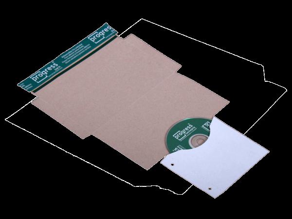 CD-Mailer DIN lang, stabile Vollpappe, weiß, mit Archivtasche