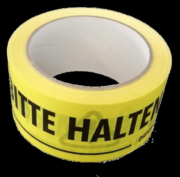 PVC-Klebeband gelb mit schwarzem Warndruck